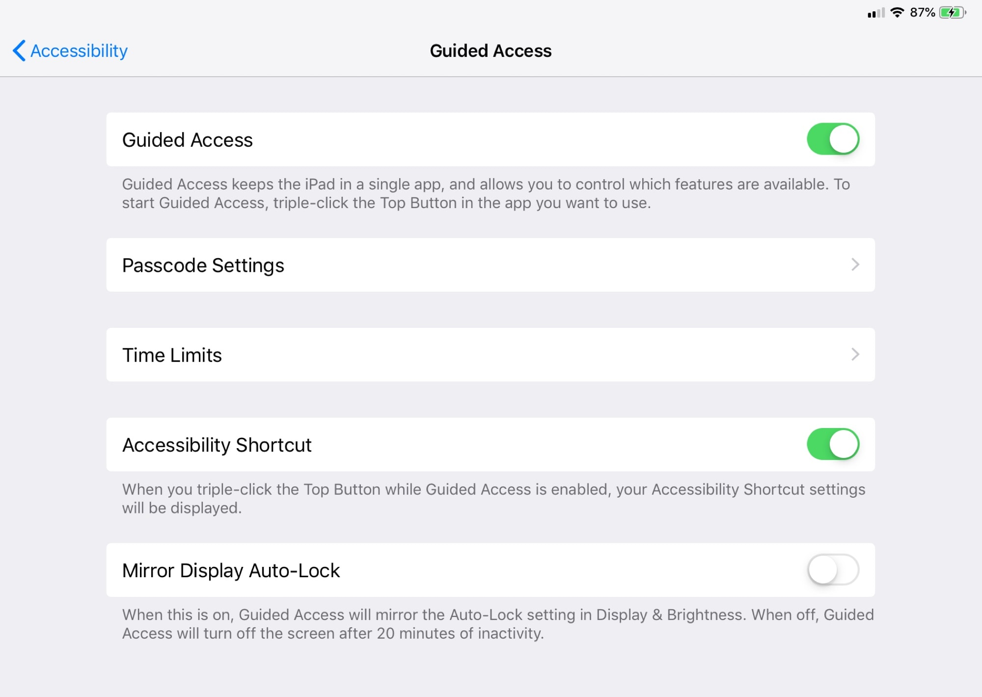 Guided Access in the Settings app.