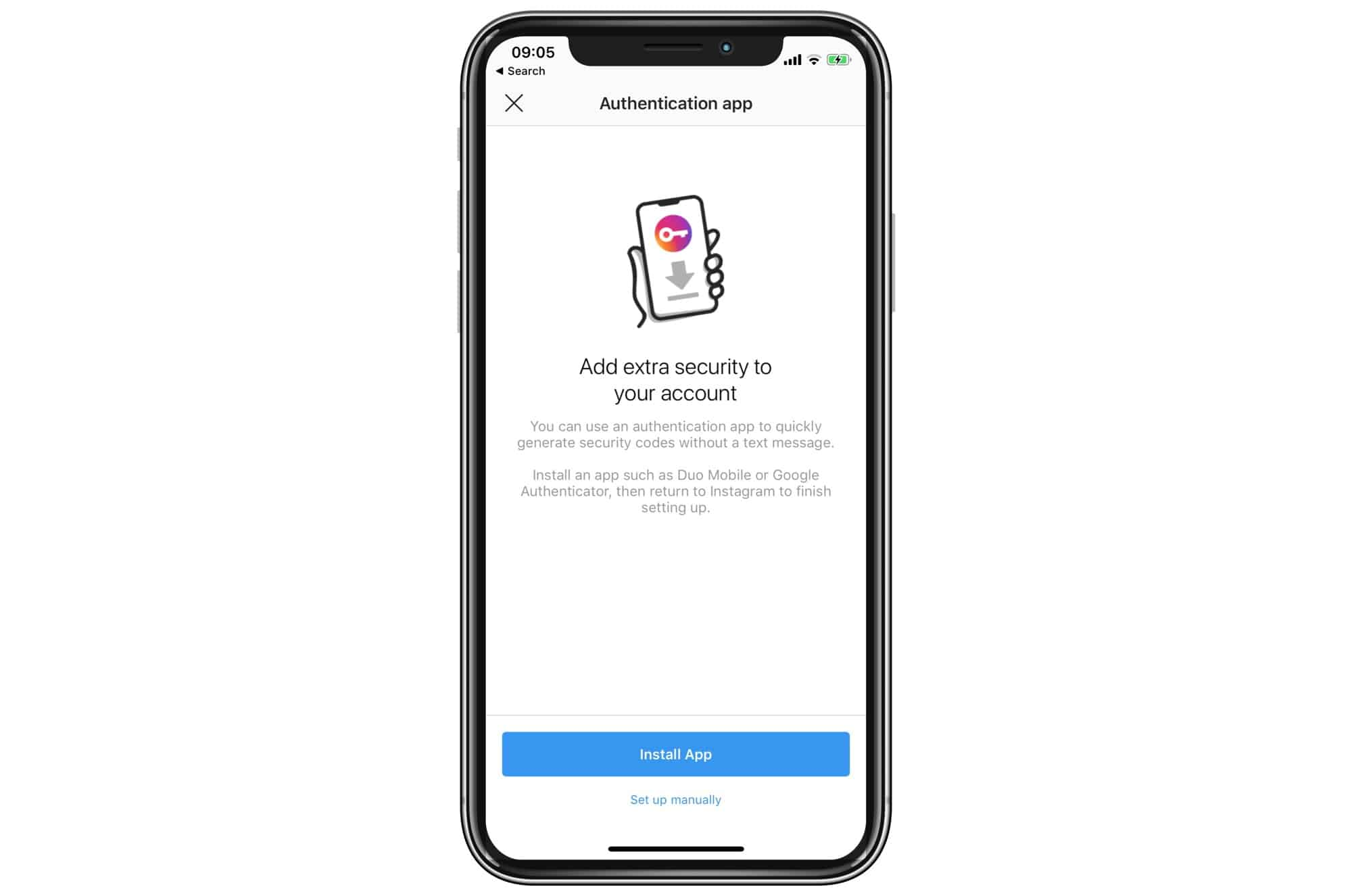 Tap Set up Manually if you already have an authentication app installed.