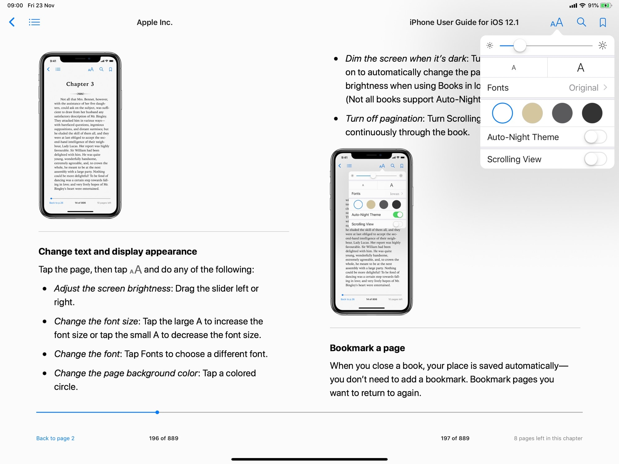Thankfully you can adjust the in-book view from dark to light in the Apple Books app.
