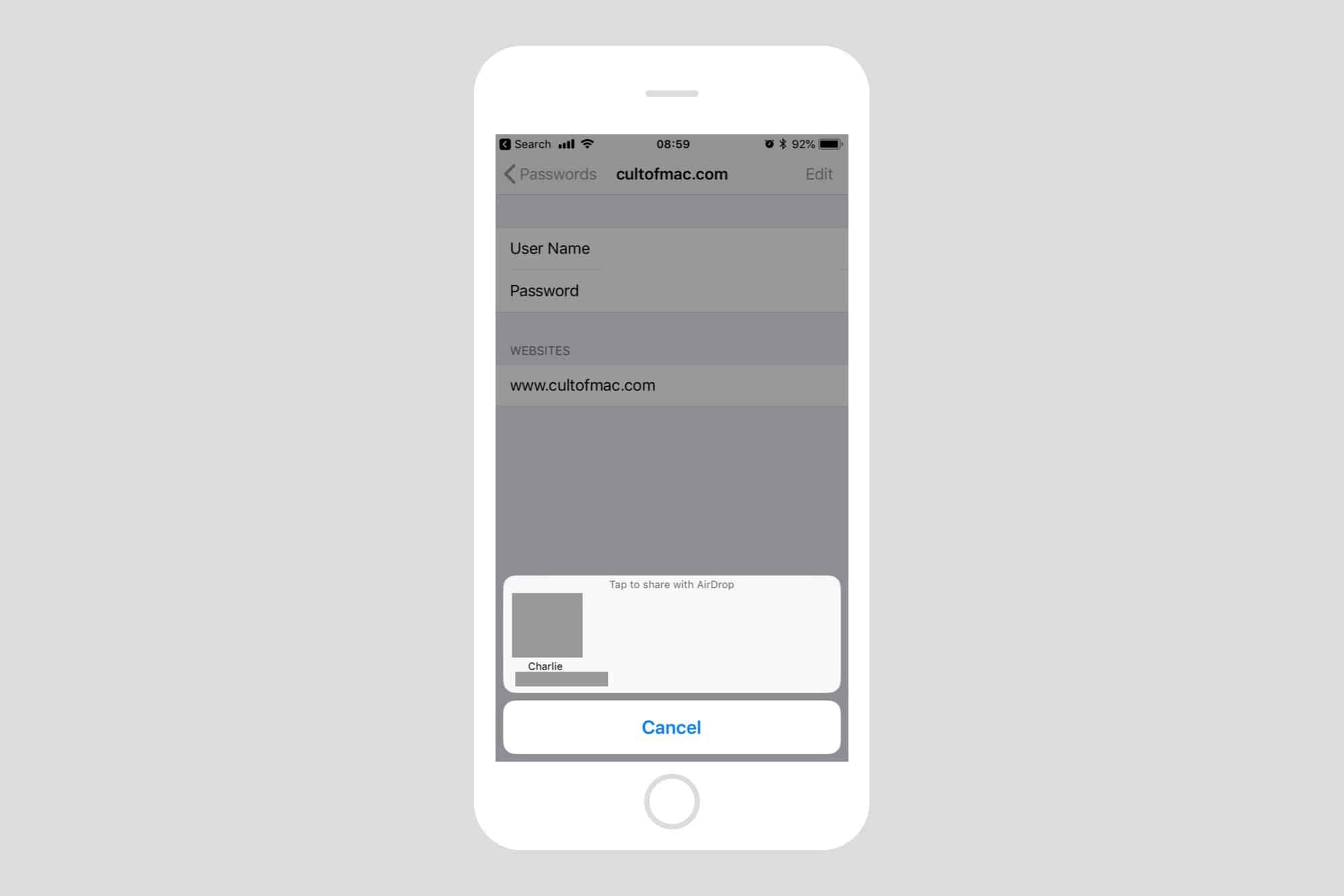 You can share a password via AirDrop from this screen in iOS 12.