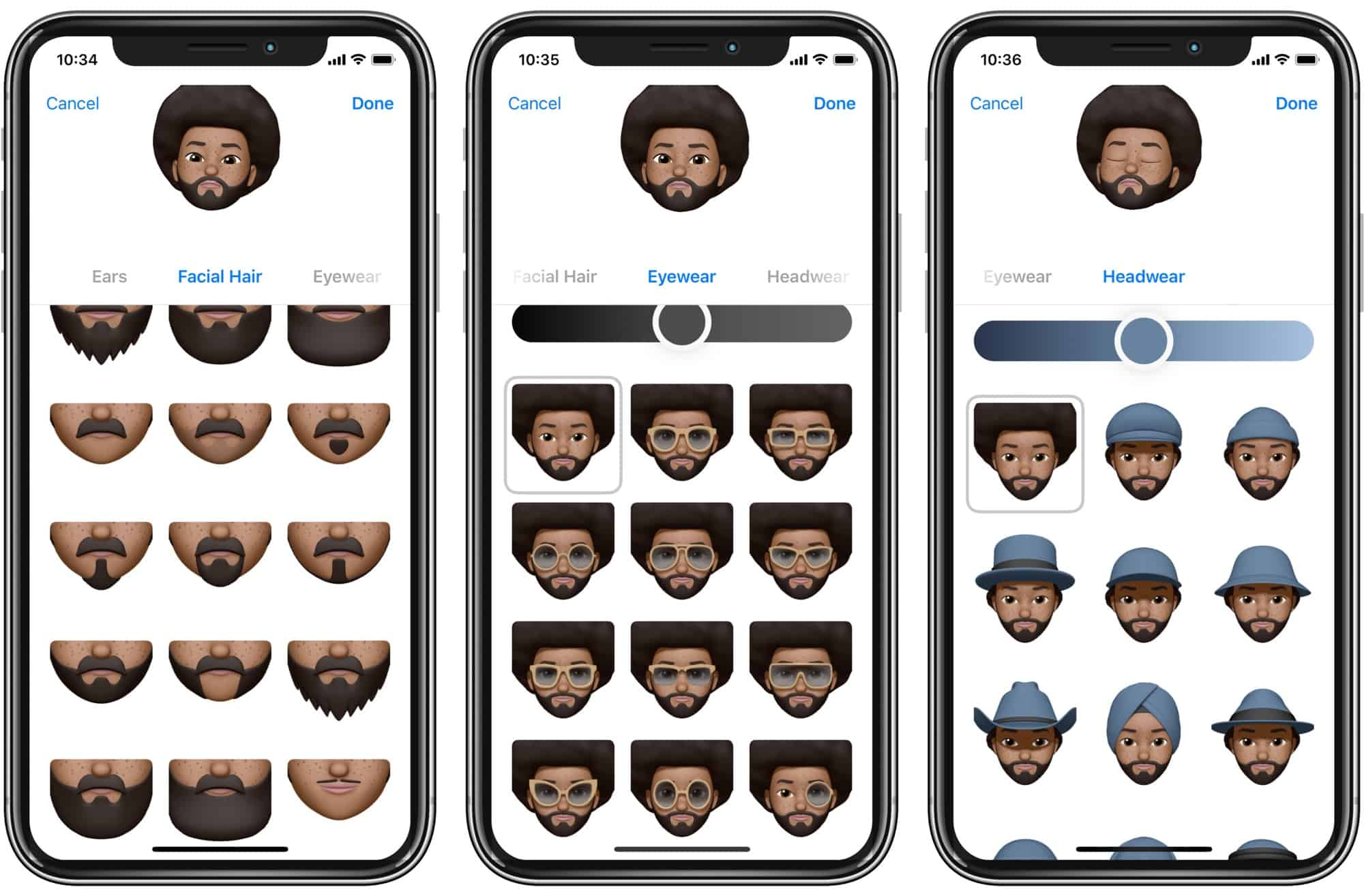 Memoji lets you add hair, beards, headwear and glasses. There are even earrings in there.