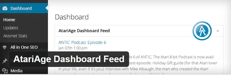 Juego de complementos para WordPress AtariAge dashboard Feed