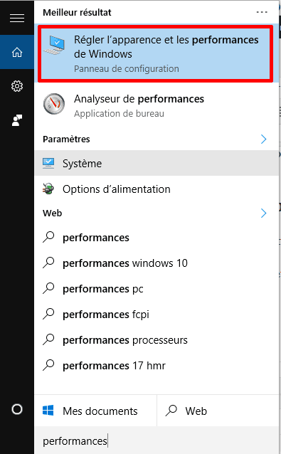 Régler l'apparence et les performances de Windows