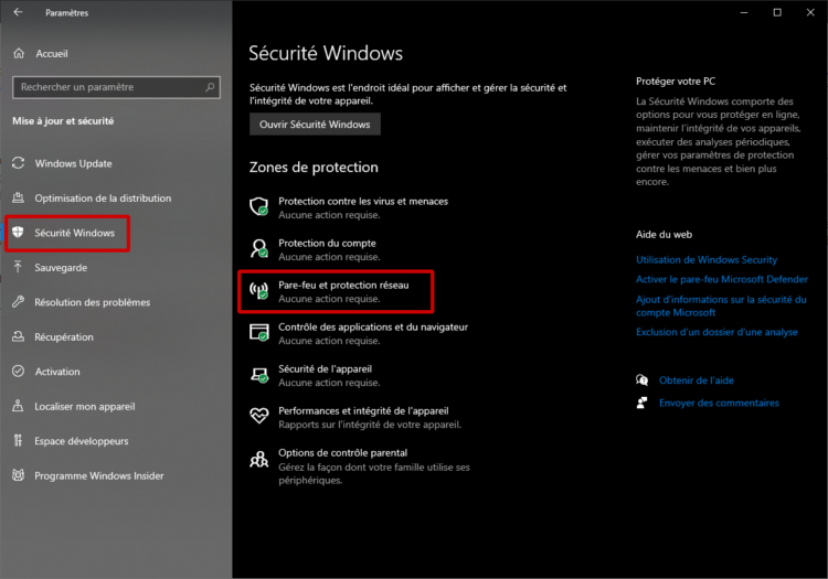 Acceda a la sección Seguridad de Windows de Windows 10 para habilitar / deshabilitar el firewall